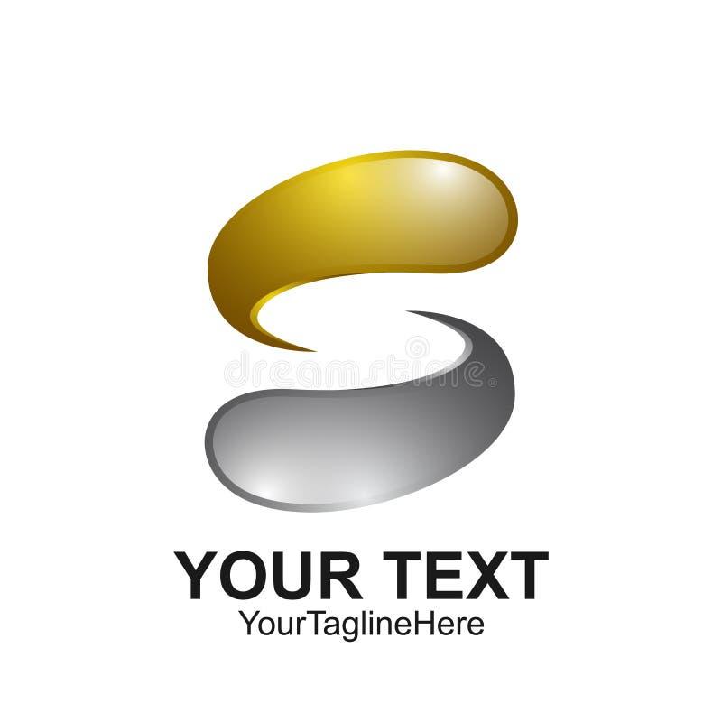 Het het ontwerpmalplaatje van het brievens embleem kleurde zilveren gouden waterdaling des stock illustratie