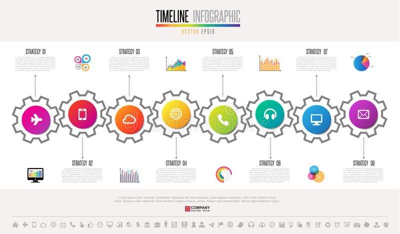 Het Ontwerpmalplaatje van chronologieinfographics vector illustratie
