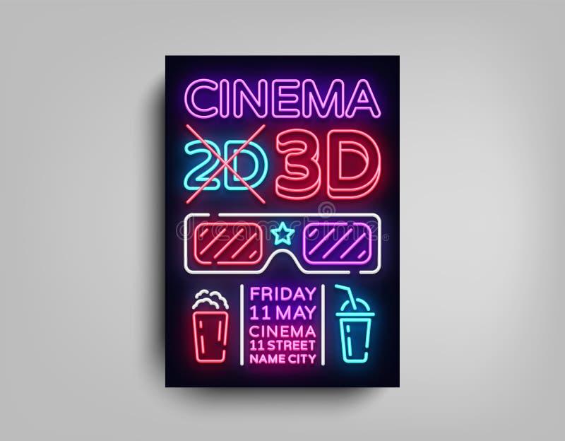 Het ontwerpmalplaatje van de bioskoop 3d affiche in neonstijl Neonteken, Lichte Banner, Heldere Lichte Vlieger, Ontwerpprentbrief royalty-vrije illustratie