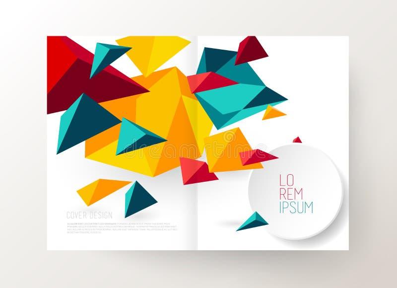 Het ontwerpmalplaatje van de boekdekking met abstracte veelhoekige voorwerpen royalty-vrije illustratie