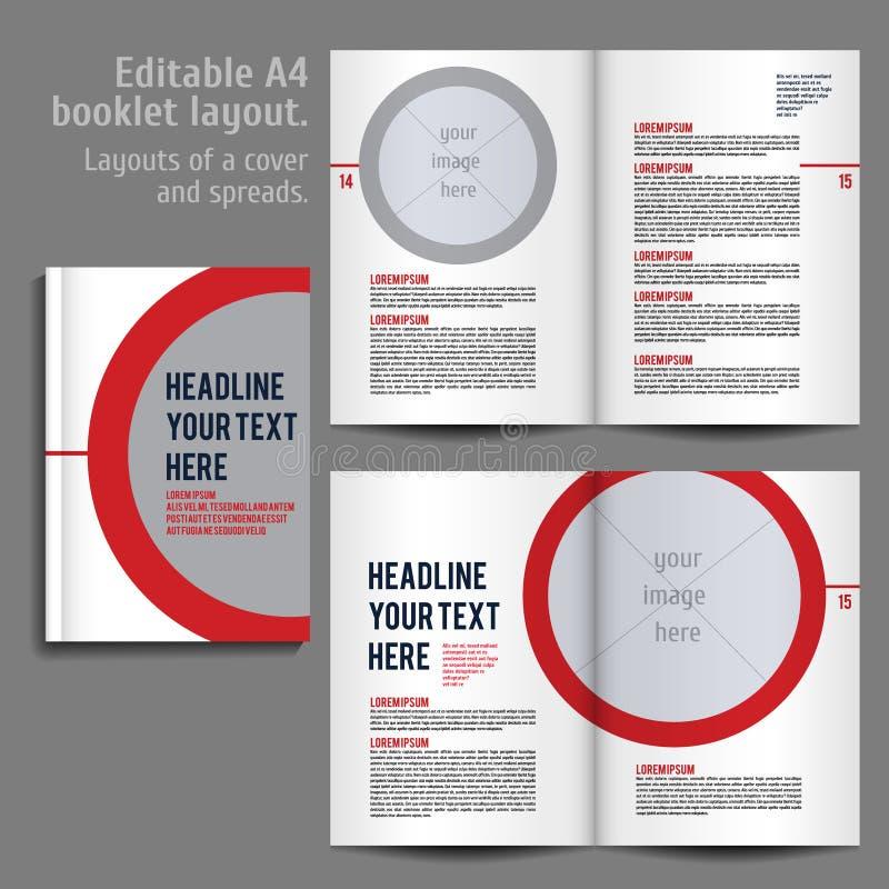 A4 het Ontwerpmalplaatje van de boekjeslay-out met Dekking stock illustratie