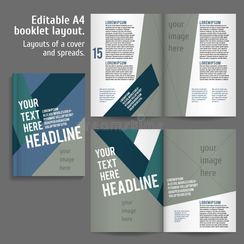 A4 het Ontwerpmalplaatje van de boeklay-out vector illustratie