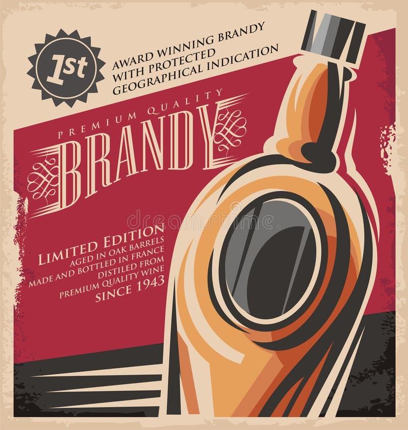 Het ontwerpmalplaatje van de brandewijn uitstekend affiche royalty-vrije illustratie