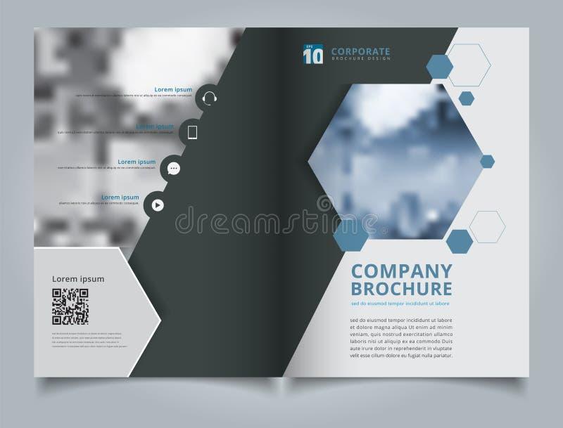 Het ontwerpmalplaatje van de brochure geometrisch hexagon lay-out, jaarverslag royalty-vrije illustratie