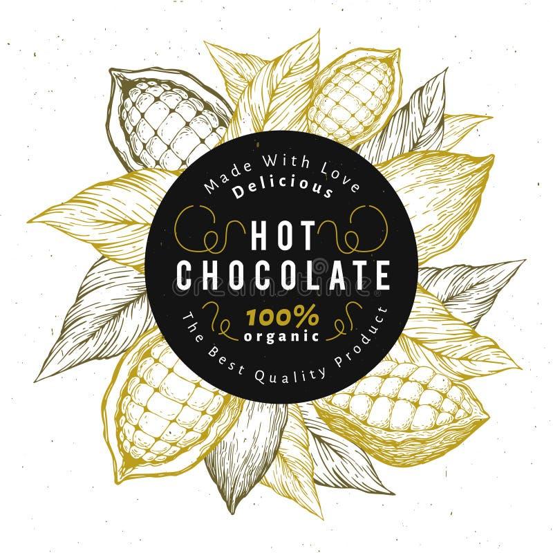 Het ontwerpmalplaatje van de cacaoboonboom Het embleem van chocoladecacaobonen Vector hand getrokken illustratie Uitstekende stij stock illustratie