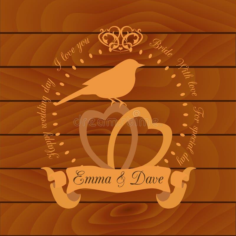 Het ontwerpmalplaatje van de huwelijksuitnodiging De vectorkaart bewaart de datum royalty-vrije illustratie