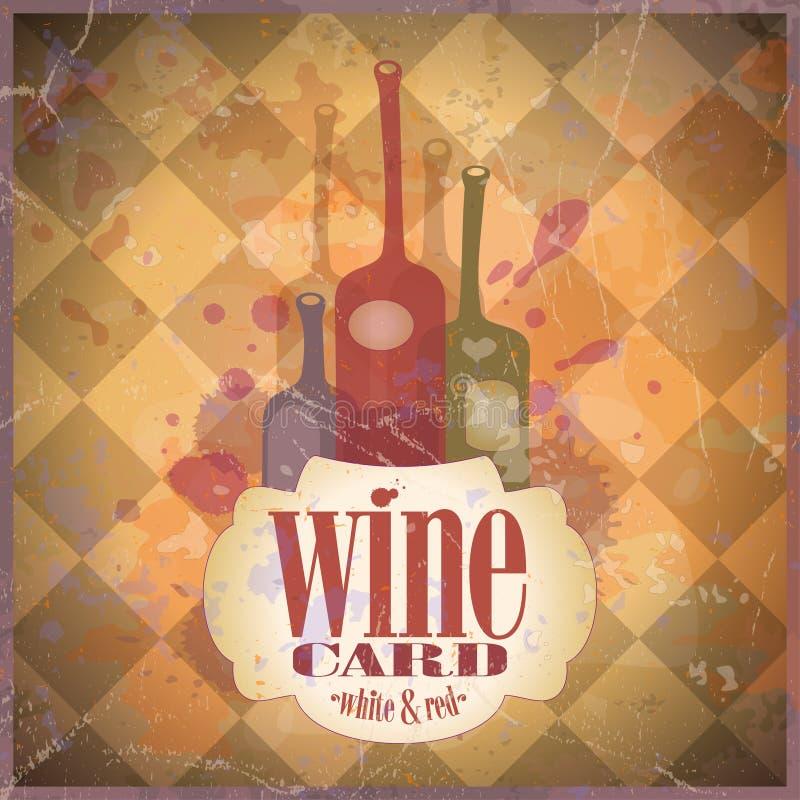 Het ontwerpmalplaatje van de Kaart van de wijn. stock illustratie
