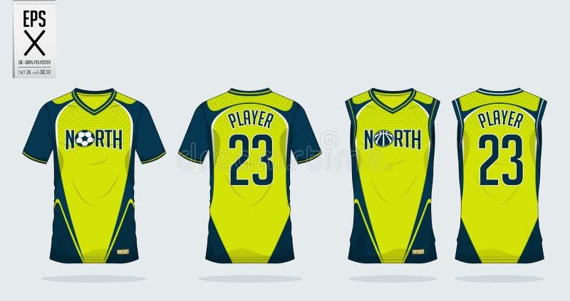 Het ontwerpmalplaatje van de t-shirtsport voor voetbal Jersey, voetbaluitrusting vector illustratie