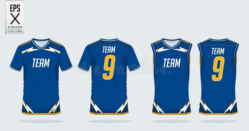 Het ontwerpmalplaatje van de t-shirtsport voor voetbal Jersey, voetbaluitrusting en mouwloos onderhemd voor basketbal Jersey Eenv stock illustratie