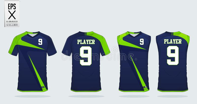 Het ontwerpmalplaatje van de t-shirtsport voor voetbal Jersey, voetbaluitrusting en mouwloos onderhemd voor basketbal Jersey Eenv royalty-vrije illustratie