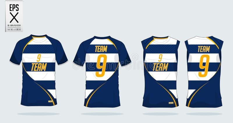 Het ontwerpmalplaatje van de t-shirtsport voor voetbal Jersey, voetbaluitrusting en mouwloos onderhemd voor basketbal Jersey Spor stock illustratie