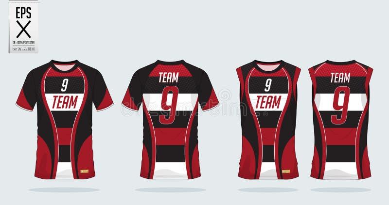 Het ontwerpmalplaatje van de t-shirtsport voor voetbal Jersey, voetbaluitrusting, mouwloos onderhemd voor basketbal Jersey Eenvor stock illustratie