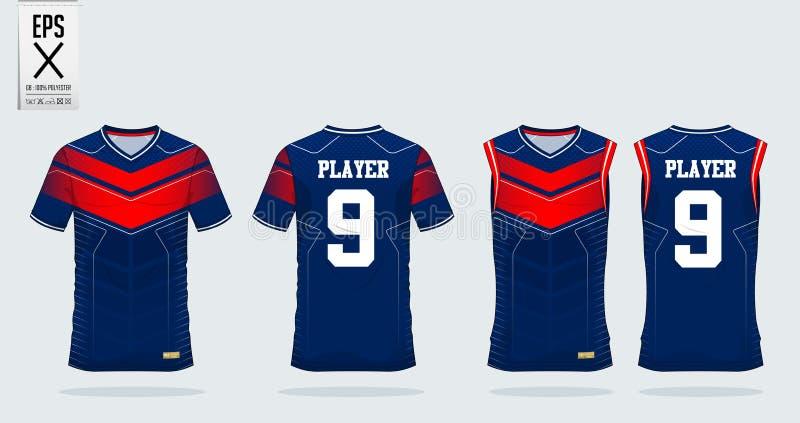 Het ontwerpmalplaatje van de t-shirtsport voor voetbal Jersey, voetbaluitrusting, mouwloos onderhemd voor basketbal Jersey Eenvor vector illustratie