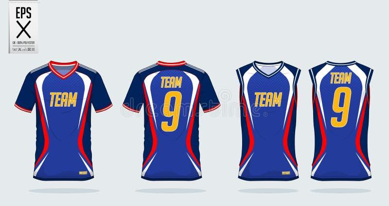 Het ontwerpmalplaatje van de t-shirtsport voor voetbal Jersey, voetbaluitrusting, mouwloos onderhemd voor basketbal Jersey Eenvor royalty-vrije illustratie