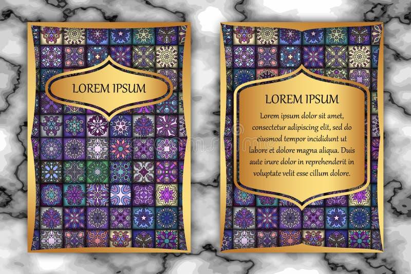 Het ontwerpmalplaatje van de uitnodigingskaart Uitstekende decoratieve elementen met mandala, gevoelig bloemenpatroon vector illustratie