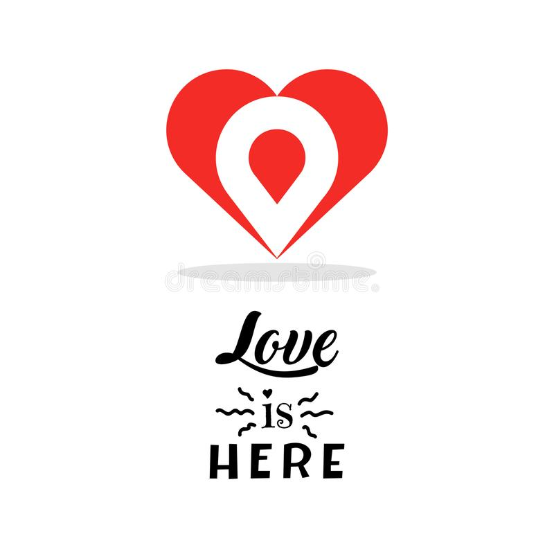 Het ontwerpmalplaatje van het hartembleem Creatief geïsoleerd symbool De liefdeteken van de valentijnskaartendag Vector illustrat vector illustratie