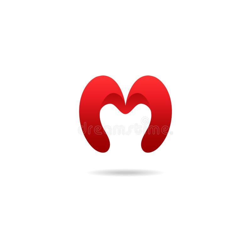 Het ontwerpmalplaatje van het brievenm embleem in rode kleuren Vector logotype stock illustratie