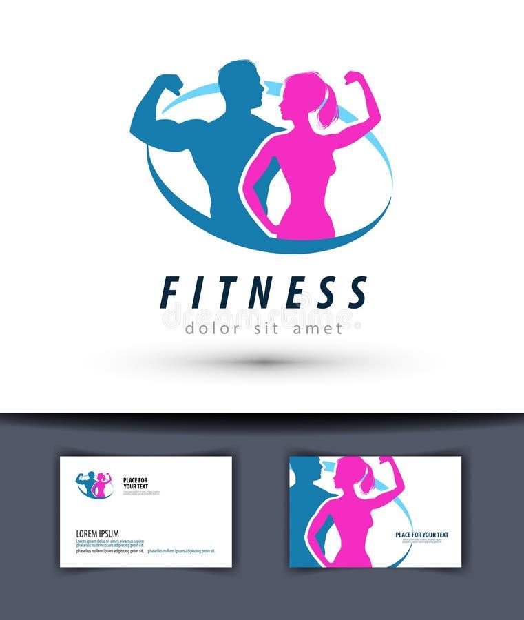 Het ontwerpmalplaatje van het geschiktheids vectorembleem gymnastiek of sport royalty-vrije illustratie