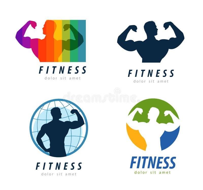 Het ontwerpmalplaatje van het gymnastiek vectorembleem gezondheid of geschiktheid royalty-vrije illustratie