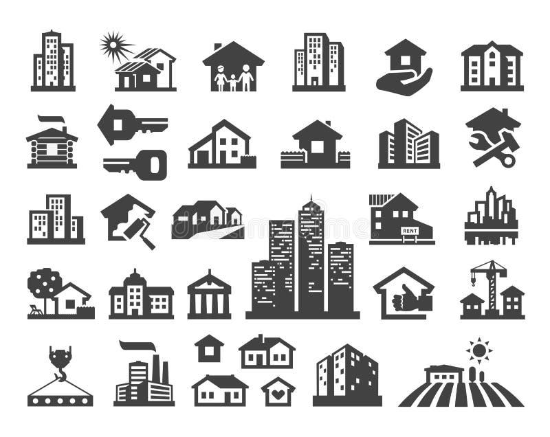 Het ontwerpmalplaatje van het huis vectorembleem landgoed of vector illustratie