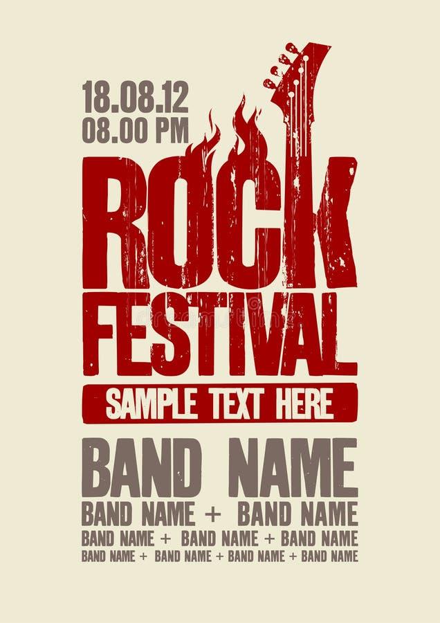 Het ontwerpmalplaatje van het rotsfestival. vector illustratie