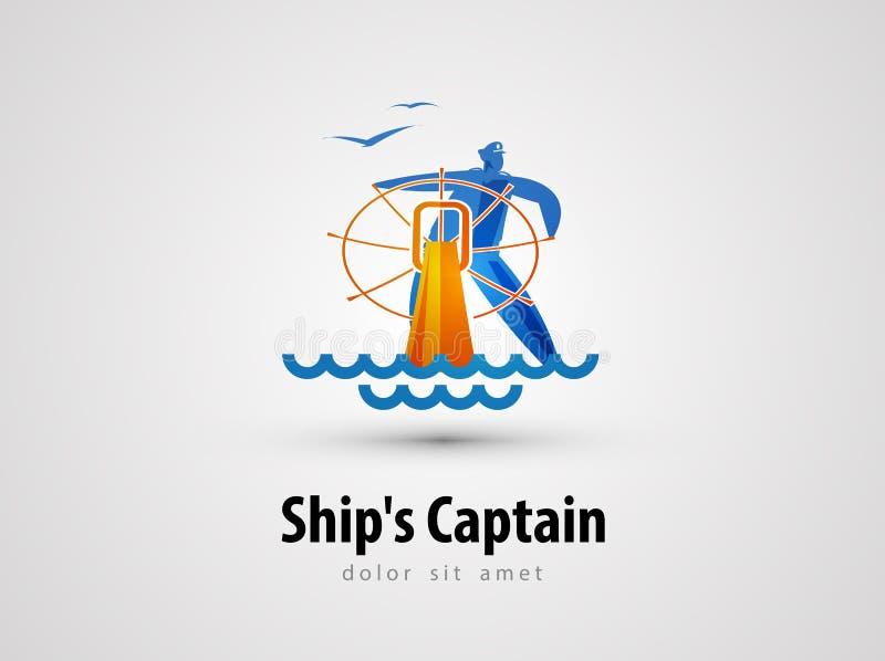 Het ontwerpmalplaatje van het schip vectorembleem zeeman of cruise vector illustratie