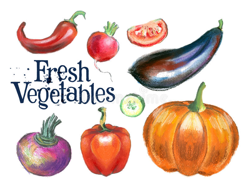 Het ontwerpmalplaatje van het verse groenten vectorembleem Voedsel royalty-vrije illustratie