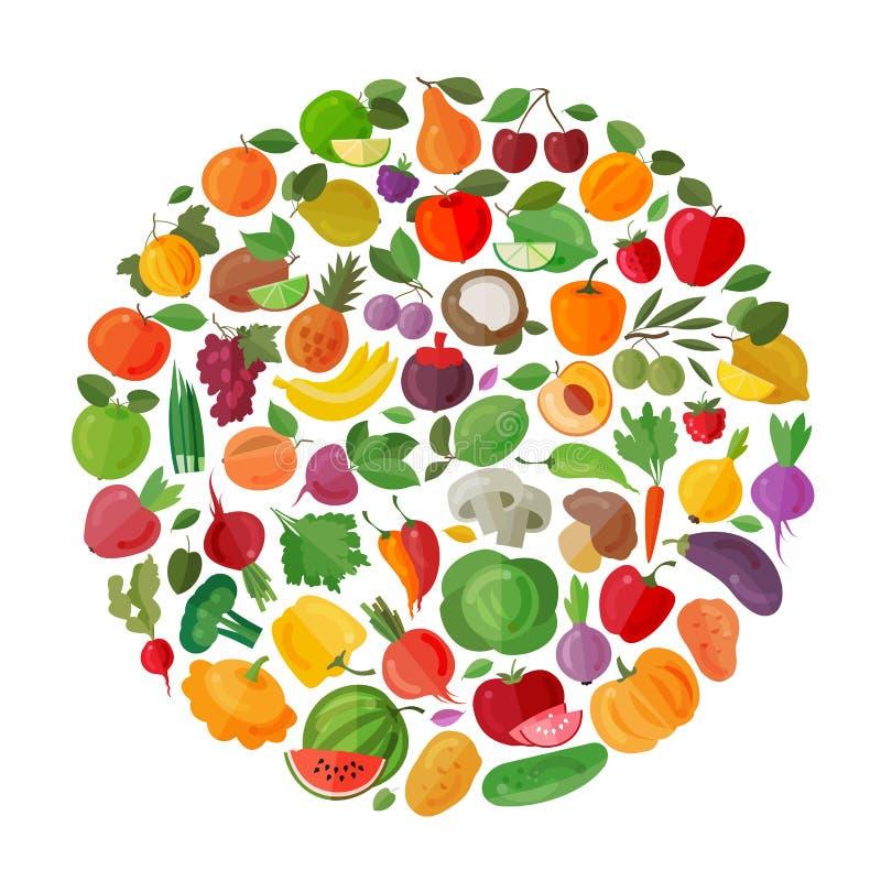 Het ontwerpmalplaatje van het voedsel vectorembleem Vruchten en stock illustratie