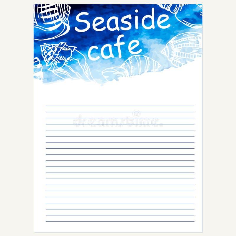 Het ontwerpmalplaatje van het zeevruchtenmenu Vector overzeese waterverfachtergrond royalty-vrije illustratie