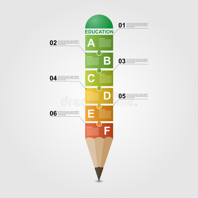 Het ontwerpmalplaatje van Infographic van het onderwijspotlood stock illustratie