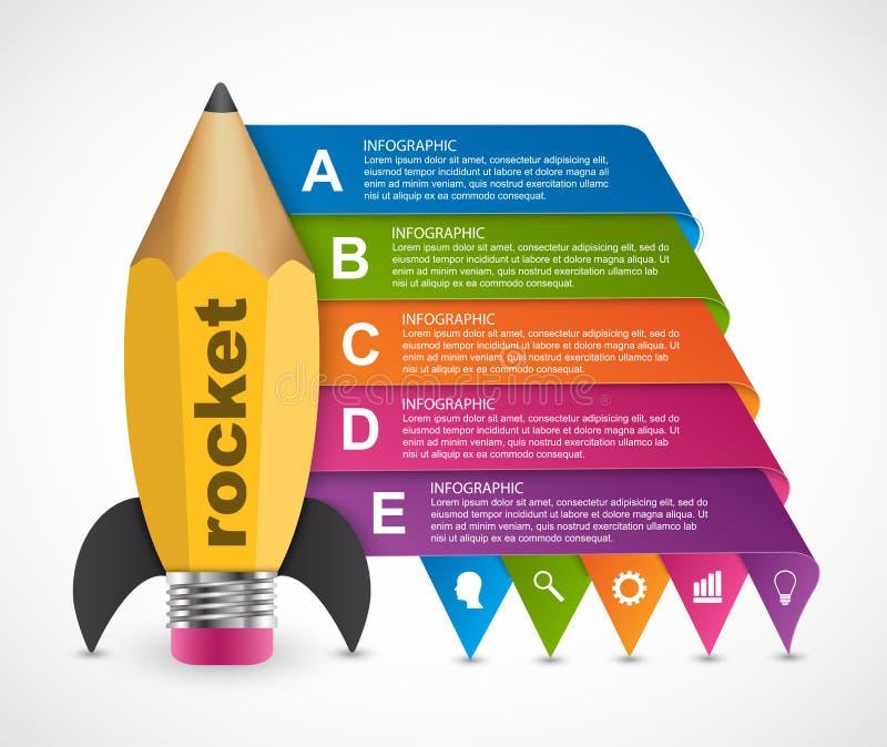 Het ontwerpmalplaatje van Infographics van de onderwijsoptie Raket van een potlood voor onderwijs en bedrijfspresentaties en broc royalty-vrije illustratie