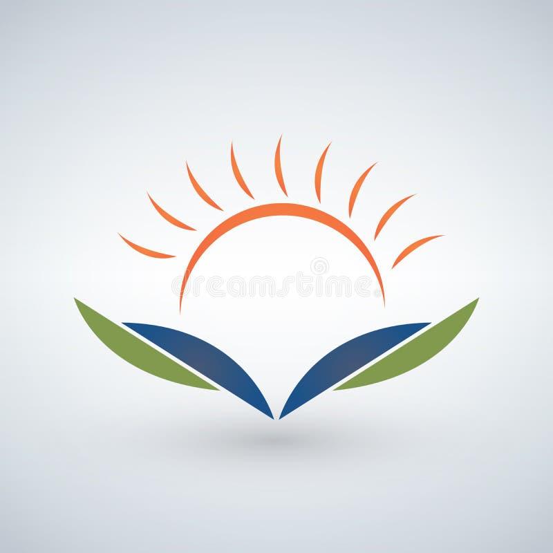 Het ontwerpmalplaatje van het kennisembleem, het Onderwijsconcept van het Zonsondergang open boek stock illustratie