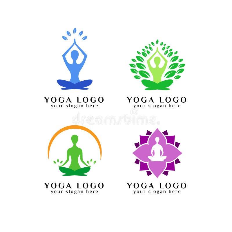 het ontwerpmalplaatje van het meditatieembleem Het ontwerpmalplaatje van het yogaembleem royalty-vrije illustratie