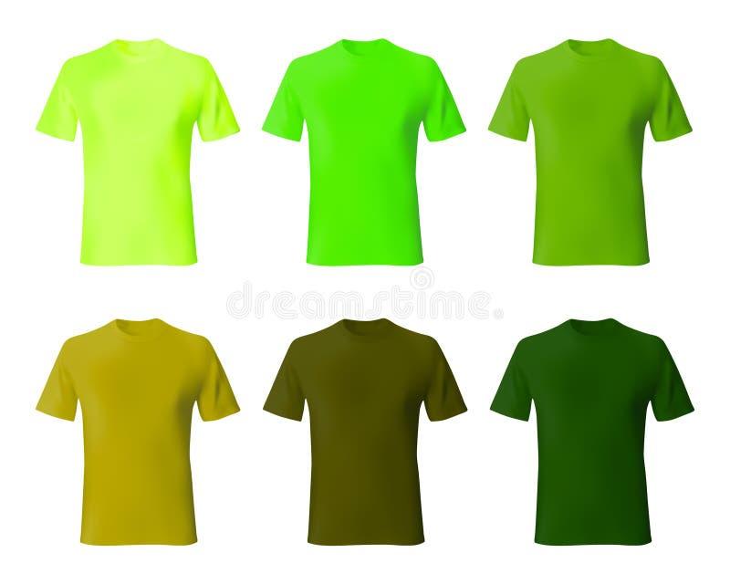 Het ontwerpmalplaatje van het overhemd De vastgestelde groene, kaki kleur van de mensent-shirt De realistische model mannelijke m stock illustratie