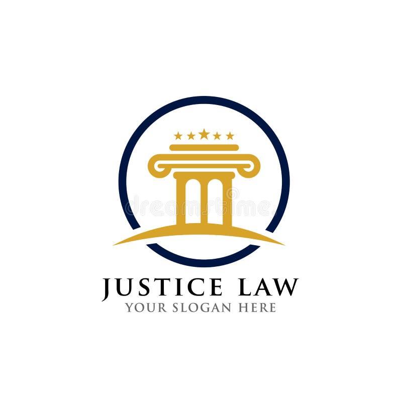 het ontwerpmalplaatje van het pijlerembleem in de cirkel rechtvaardigheidswet en het ontwerpmalplaatje van het procureursembleem stock illustratie