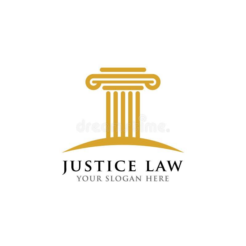 Het ontwerpmalplaatje van het pijlerembleem rechtvaardigheidswet en het ontwerpmalplaatje van het procureursembleem vector illustratie