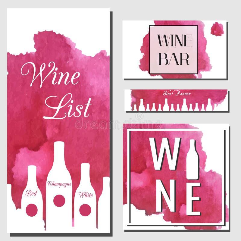 Het ontwerpmalplaatje van wijnkaarten Vectorvlieger voor wijnbar, wijnwinkel met waterverfplons en flessen vector illustratie