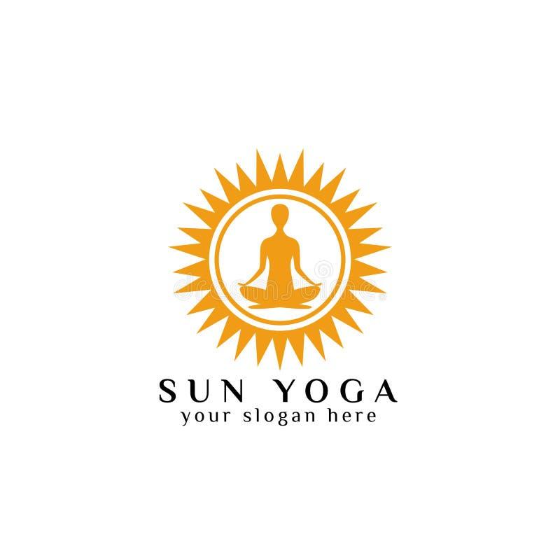 Het ontwerpmalplaatje van het yogaembleem menselijke meditatie in de zonlicht vectorillustratie stock illustratie