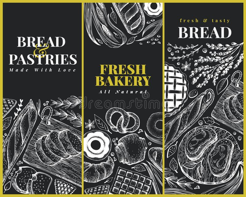 Het ontwerpmalplaatjes van de bakkerij hoogste mening Hand getrokken vectorillustratie met brood en gebakje op schoolbord retro stock illustratie