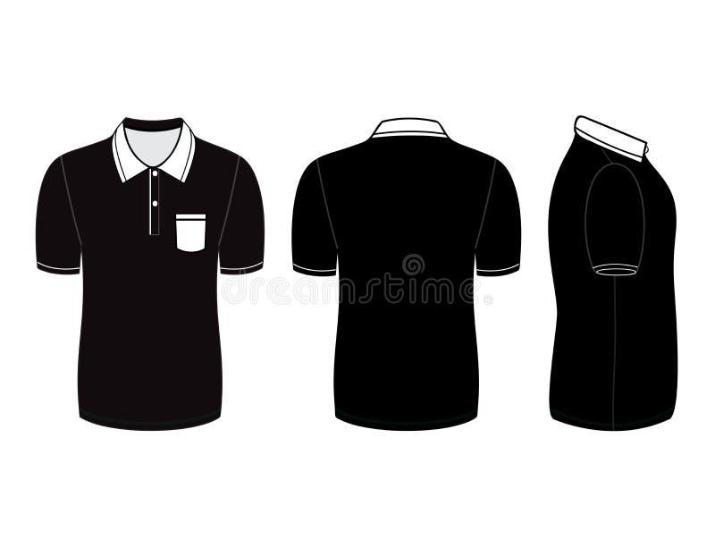 Het ontwerpmalplaatjes van het polooverhemd (voor, achter en zijaanzichten) vector illustratie