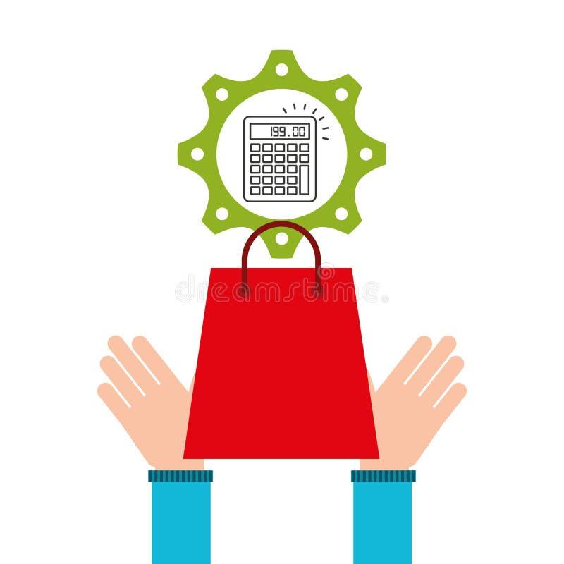 Het ontwerppictogram elektronische handel van het bedrijfscalculatorgeld stock illustratie