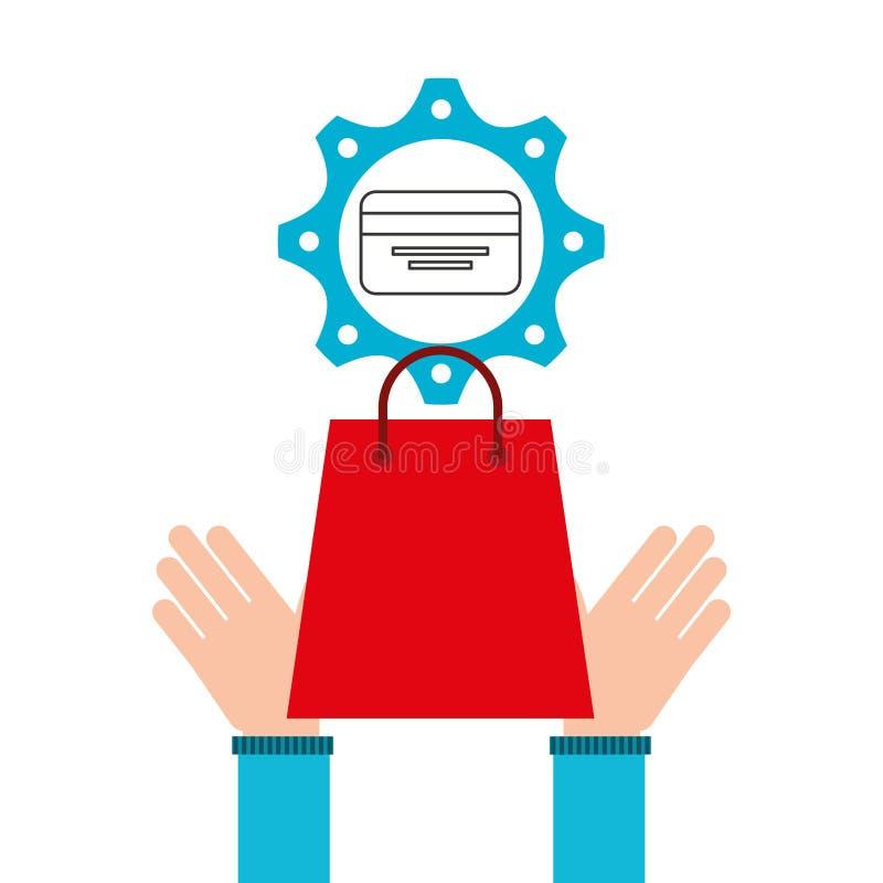 Het ontwerppictogram elektronische handel van het bedrijfscreditcardgeld royalty-vrije illustratie