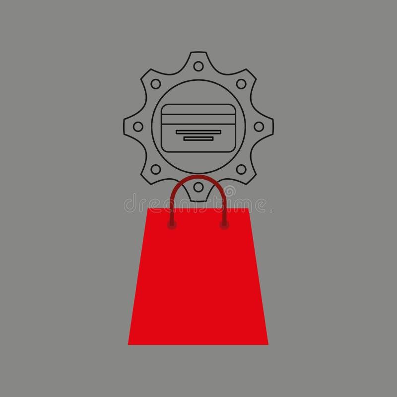 Het ontwerppictogram elektronische handel van het bedrijfscreditcardgeld vector illustratie