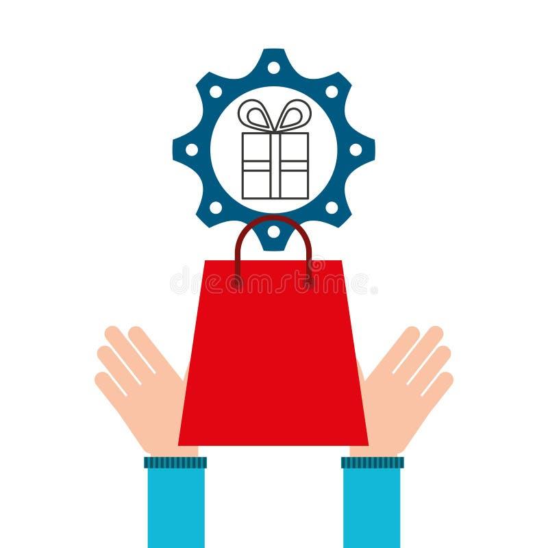 Het ontwerppictogram elektronische handel van het bedrijfsgiftgeld vector illustratie