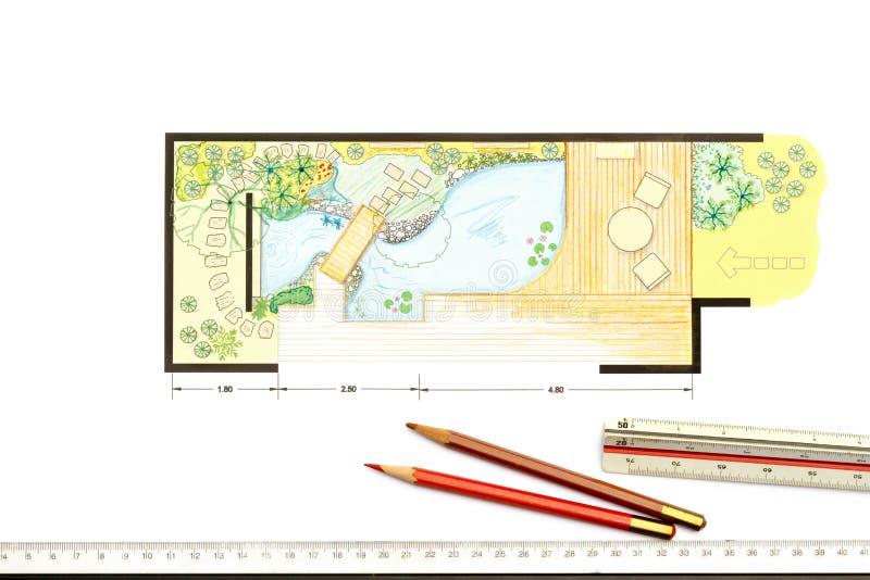 Het ontwerpplan van de watertuin stock illustratie