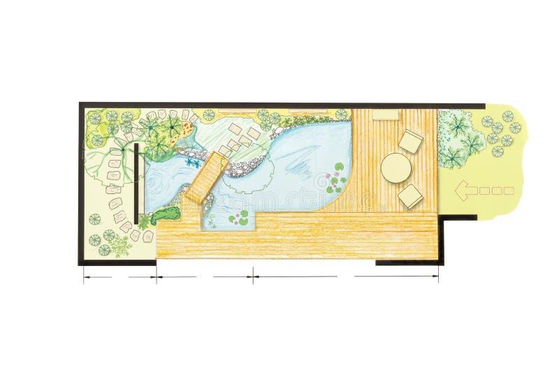 Het ontwerpplan van de watertuin royalty-vrije illustratie