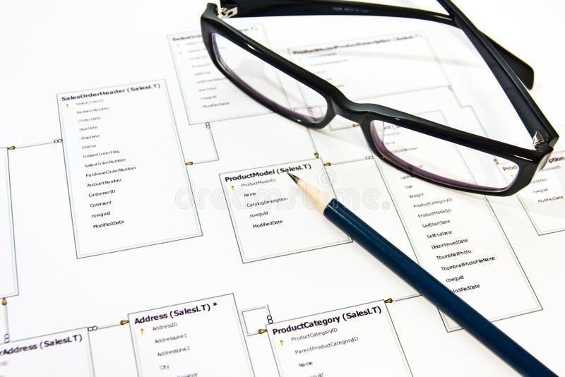 Het ontwerpproces van het gegevensbestand stock fotografie