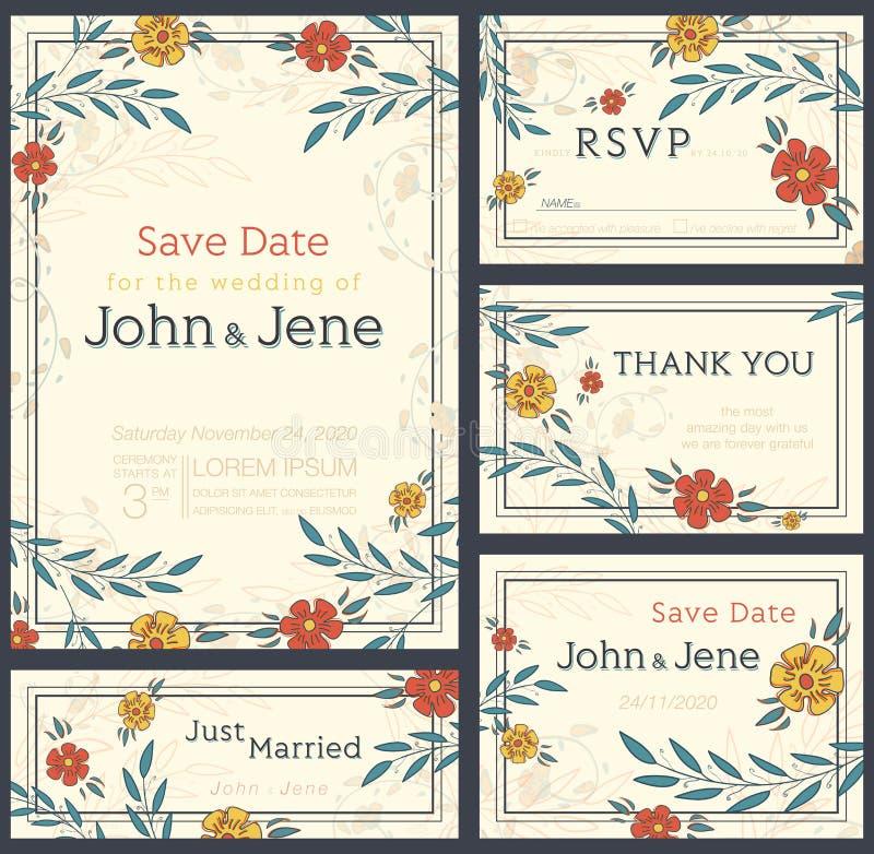 Het ontwerpreeks van de huwelijksuitnodiging Sparen de Datum RSVP-kaart stock illustratie