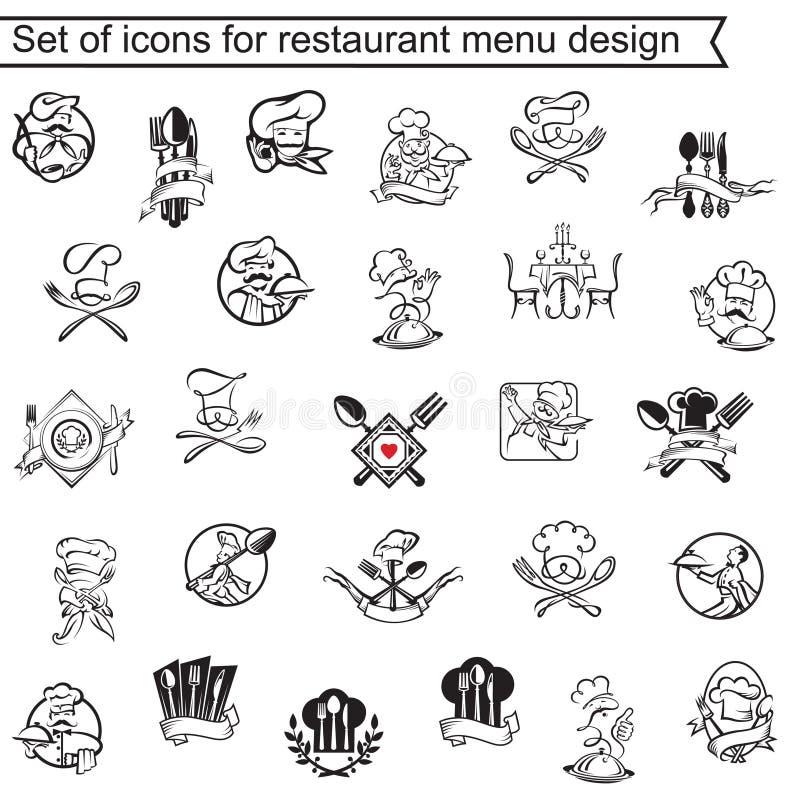 Het ontwerpreeks van het restaurantmenu stock illustratie