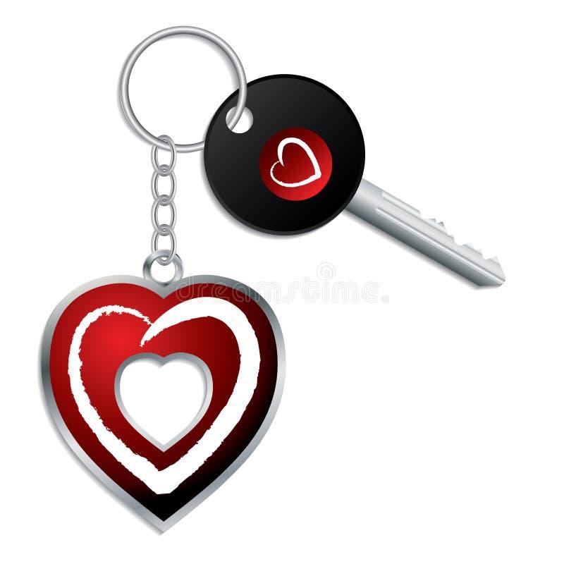 Het ontwerpsleutel van het hart met keychain en keyholder vector illustratie
